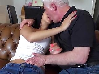 College Teen Nympho Takes Grandpa Cock In Her Mouth And Big Facial