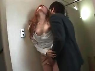 Office Lady Has Sex In The Washroom