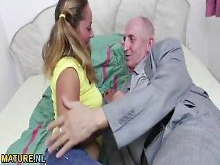 Teen Pussy Filled With Old Cock
