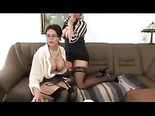 Threesome Mature Stockings