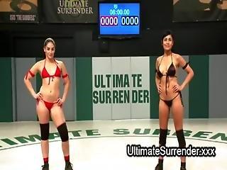 Lesbian Wrestlers Deep Throat Strapon Dildo Blowjob On Mats