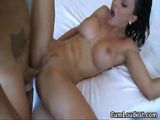 Busty Brunette Babe Goes Crazy Getting