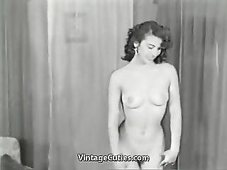 Nude Brunette Teases With Perfect Body 1950s Vintage