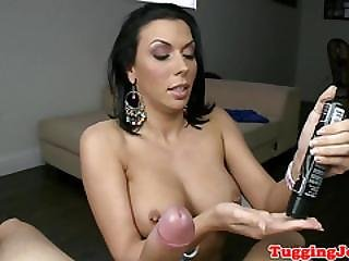 Bigtitted Beauty Wanking Big Cock
