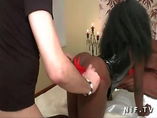 Busty French Black Slut Gets Banged