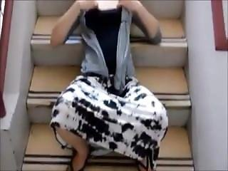 Amateur Public Facial On Stairway