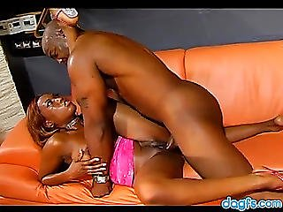 Dark Playgirl On Top With His Ramrod In Her Sexually Excited Fur Pie
