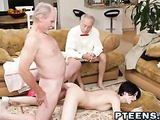 Petite Teen With Short Hair Gets Fucked Anally By A Old Guy