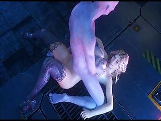 Beautiful And Helpless Scientist Gets Mouth, Pussy And Ass Destroyed By The Monster Cock Of An Aggressive Humanoid Alien Creature!