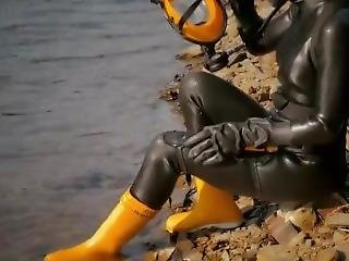 Rubber Scuba Girl With Rubber Boots