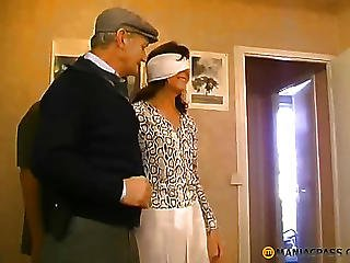 Woman With Blindfold Sucks Dick In Men