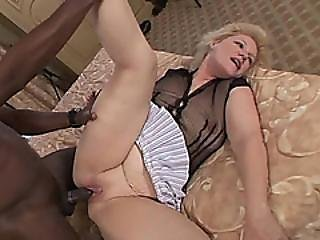 Young Black Stud Bangs That Granny Bald Pussy Hard