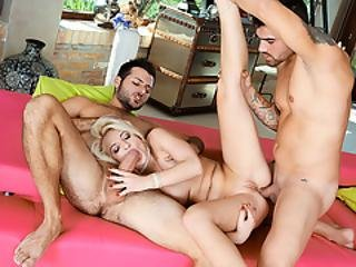 Slutty Blonde Gets Her Ass Toyed And Fucked By Two Big Cocks