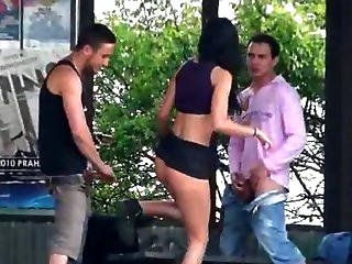 Hot Teen With Big Boobs In Public Sex Threesome At A Bus Stop Part 2