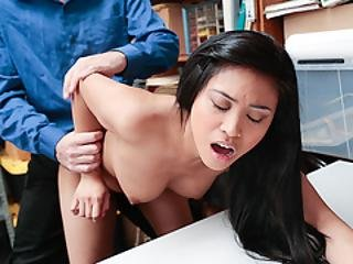 Asian Shoplifter Babe Ember Takes A Huge Dick