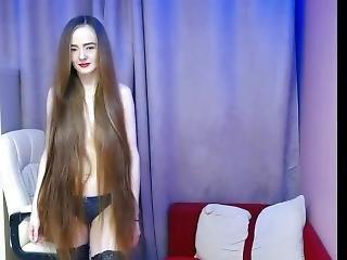 Fantastic Long Haired Bun Drops, Hairplay And Striptease, Long Hair, Hair