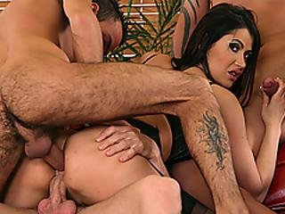 Hot Slut Eva Karera Gangbanged By Three Guys