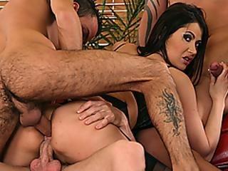 Hot Slut Eva Karera Gangbanged By Three Guys
