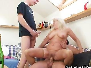 Drunk Grandma Sucks And Rides Two Cocks