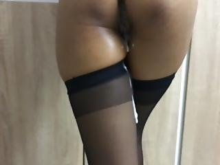 Cum Dripping On My Thigh Highs After Standing Fuck From Behind