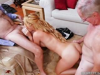 Teen Slut Sucks 3 Nasty Old Men & Fucks 2 But Never Stops Sucking Old Cock
