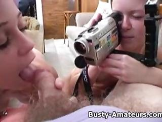 Busty Amateur Sunny And Holly Gives Double Blowjob