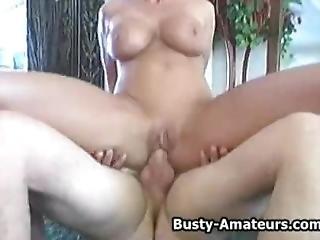 amatør, stort bryst, blowjob, fed, kneppe, sutter
