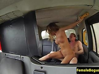 Alluring Cabbie Babe Pussy Cumcovered