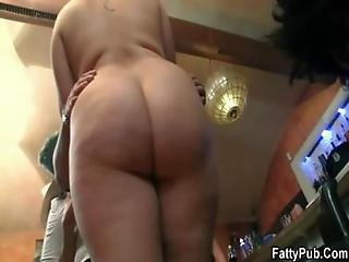Three Big Beautiful Women Strip For Guys In The Bar