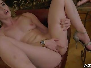 Classy Blonde Has Orgasm With Ribbed Dildo