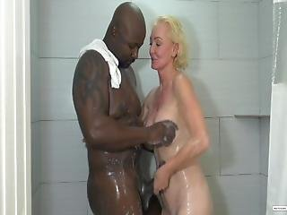 Blonde Grandma Shower Down With Bbc
