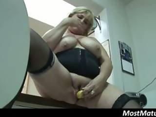 Fat Mature Housewife Inserts Banana In Her Pussy