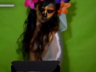 Cosplay Catrina Y Bodypaint De Sexy Jovencita Mexicana... DÍa De Muertos.