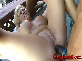 Big Titted Blond Whore Double Fucked By Horny Black Men