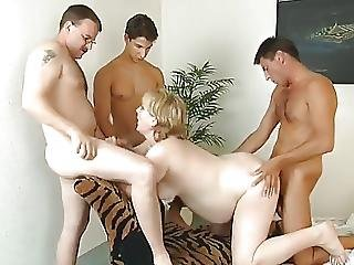 Pregnanthousewife Surroundedby Cocks