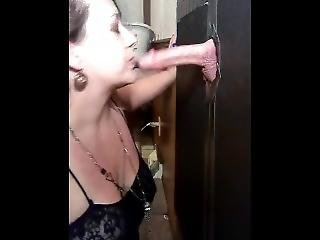 Wifeys gloryhole cock suck