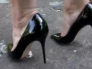 Lena Roach Crusing In Sexy Black Heels.