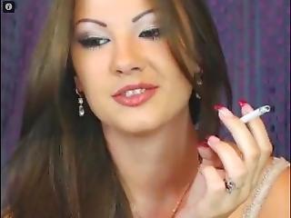 Very Attractive Slut Smokes Her Slim Cigarette
