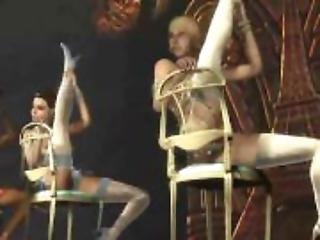 Sexy girls dancing naked around a chair