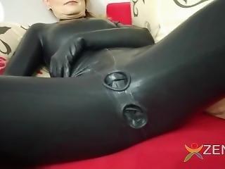 Latex Catsuit With Condoms