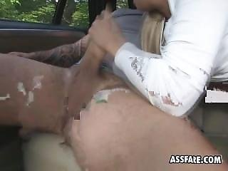 Blonde Bimbo Cayla Lyons Riding Driver In Back Of Taxi