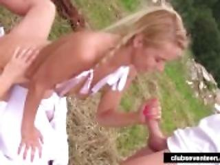 Pigtailed teen gets double fucked outdoors