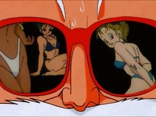 Old Anime Green Sees Nude Girls Through Their Glasses