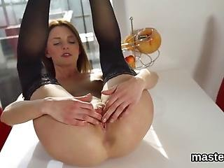 Fantastic Czech Beauty Is Spreading Bald Slit And Sticks Bizzare Toy Deep Inside Having The Best Climax