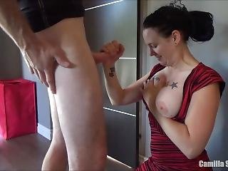 High Heels & Sexy Dress - My Wife Takes A Huge Load In Mouth & On Her Face