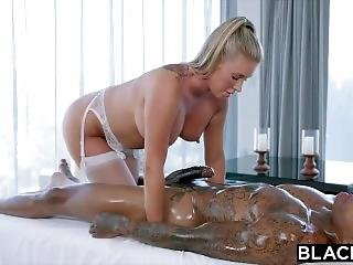 Massage And Blowjob To A Giant Black Cock