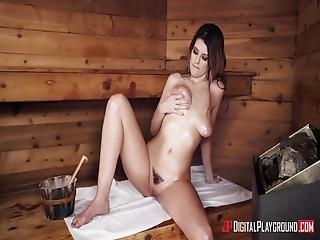 Michele James Gets Big White Cock In The Sauna
