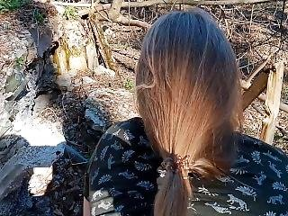 Sex In The Woods With Cum In Mouth And Swallowing
