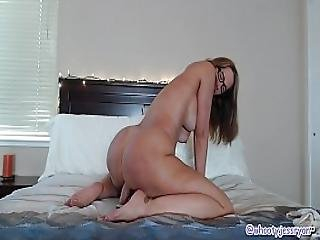 Beautiful Mature In Bed Sucks And Rides Big Long Dildo