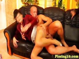 Pissing Euro Milfs In Stockings Have Threeway